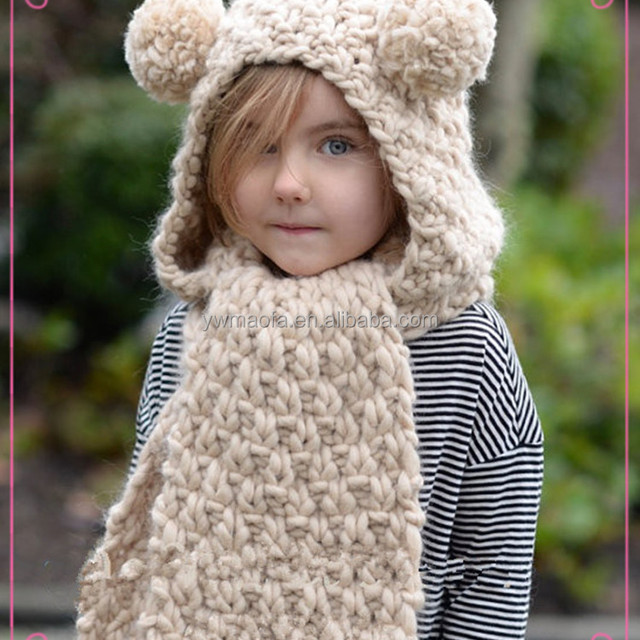 Knitted Baby Hooded Scarf with Animal Ears Winter Hoodie in Hand Knit Scarf with Hood and Ears