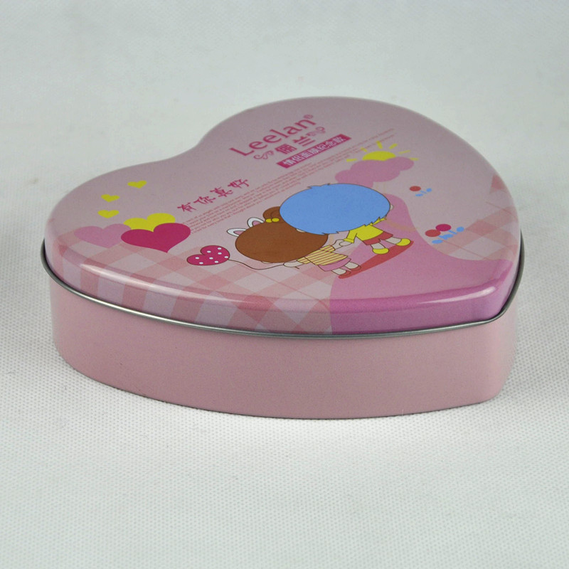 custom small christmas heart shaped candy gift tin box