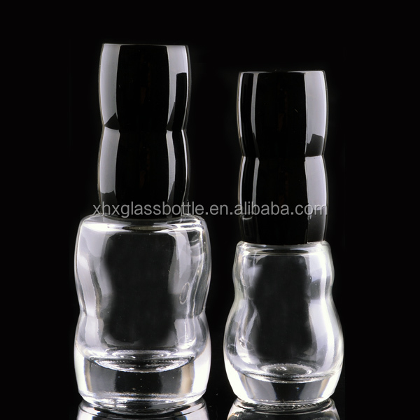 15Ml 7Ml Unique Cucurbit Shape Glass Holographic Nail Polish Bottle With Black Plastic Cap