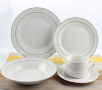 30pcs light weight silver rim dinner set