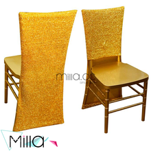 Metallic gold silver sequin chiavari chair hood for wedding party Christmas