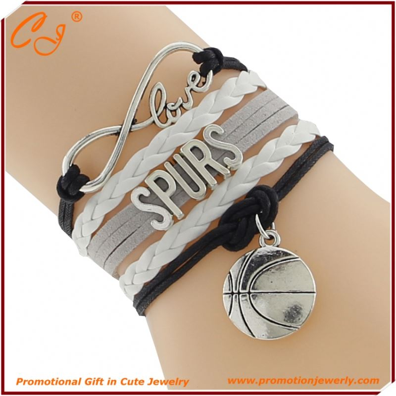 Letter Combined Leather COrd Fashion Bracelet SPURS BASKETBAll Braided Cord Bracelet