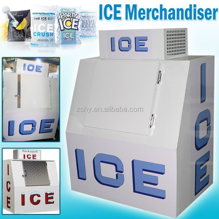 slant front ice merchandiser in gas station