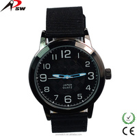 Arabic numerals nylon/leather strap waterproof quartz advertising low cost wrist watch