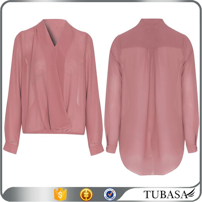Guangzhou manufacturer long cuffed sleeves dusty pink chiffon wrap blouse, sheer fabric ladies fashion tops and blouse