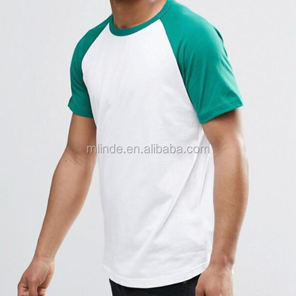 Polyester T Shirt Compressed Blank Fitted Factory Directly Raglan Sleeve Baseball Men Tee Size S M L XL XXL XXXL In Green