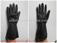 black color latex industrial working gloves