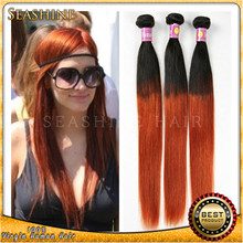 Ombre Brazilian Hair Weaves 3bundles 7A Orange Brazilian Virgin Hair Extensions 100G Colored Ombre Hu-man Hair