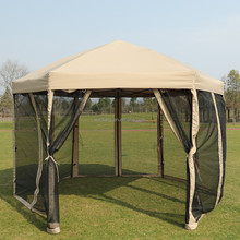 Waterproof quick-up instant hexagon canopy gazebo tent with carrying bag, 6 x 6 x 6 foot, beige