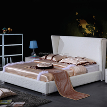 Cheap Bedroom furniture hot sale White Modern Leather upholstered King size Bed designs