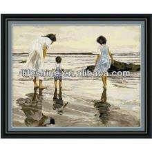 DIY oil paintings with three figures on seabeach