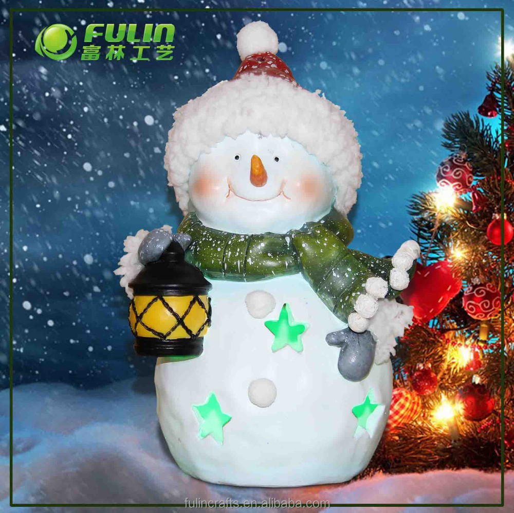 Resin Christmas Ornament, Snowman Decoration, light