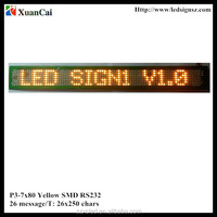 New! Yellow color Ultra-thin P3-7X80 SMD 26messages serial port running message text led display board