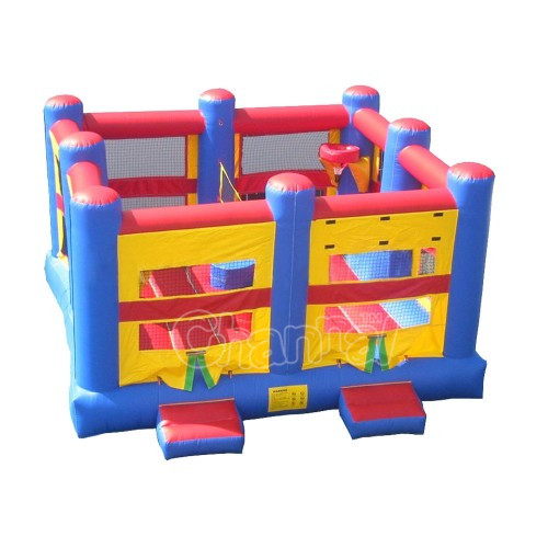 5 in 1 sport Sport Arena sports game combo, basketball hoop/gladiator joust /volleyball/boxing ring jumping bouncer combo