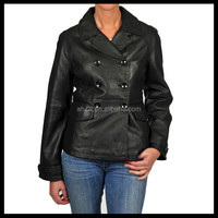 Women Black Leather Double breasted PU Jacket with front pockets