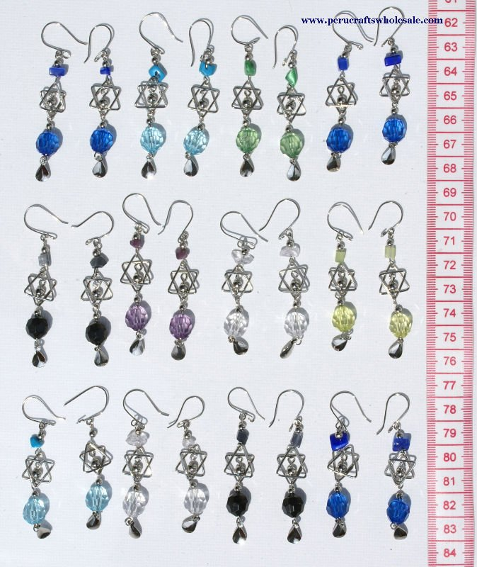 Alpaca Metal Earrings with Murano Glass Crystals Wholesale Jewelry