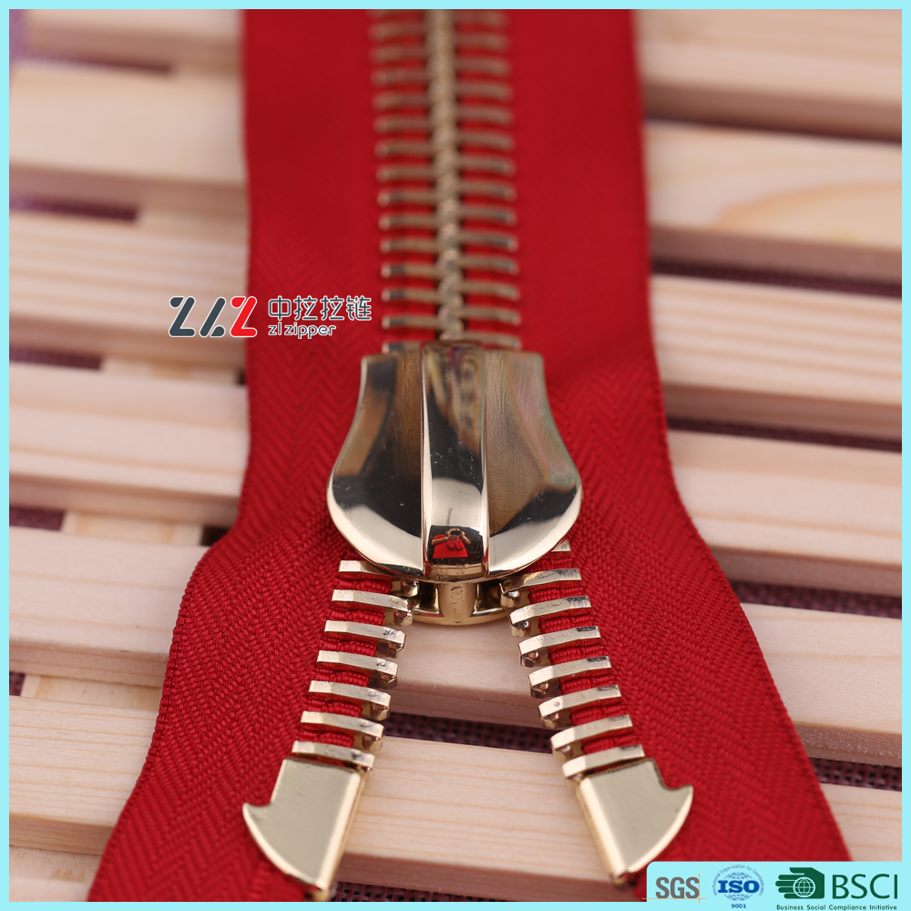 ZLZ NO.30# big teeth metal zipper with light gold european teeth for ZLZ brand metal zipper