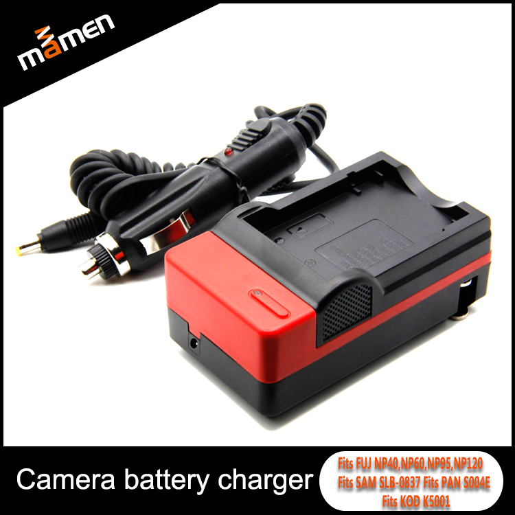 Wholesale ABS Plastic Red Camera Battery Charger Including Car Charger Professional For Fujifilm Digital Battery NP40, NP60