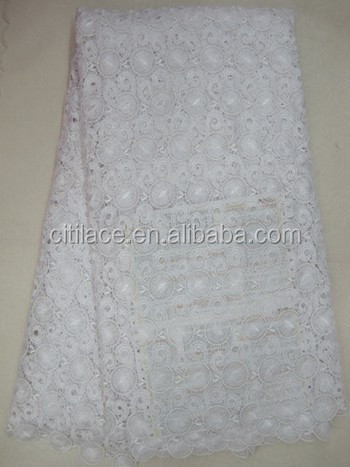 white heavy cotton swiss design embroidery cord J387-2 african guipure lace fabric with stones manufacturers