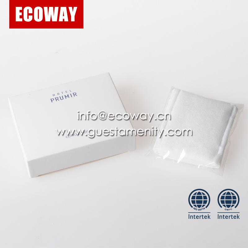 Hotel Vanity Kit With Cotton Pad square cosmetic cotton pads