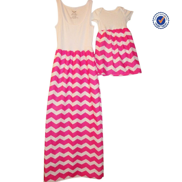 2016 Summer beach striped mommy and me chevron 4 colours 100% cotton maxi dresses