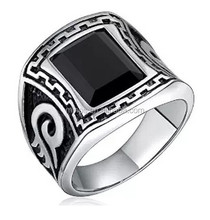 Vintage Celtic Oval Design Flat Surface Black Square Stainless Steel Ring Comfort Fit Size 9-12