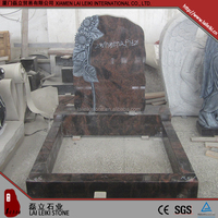 Competitive price german style Aurora honed granite muslim tombstone