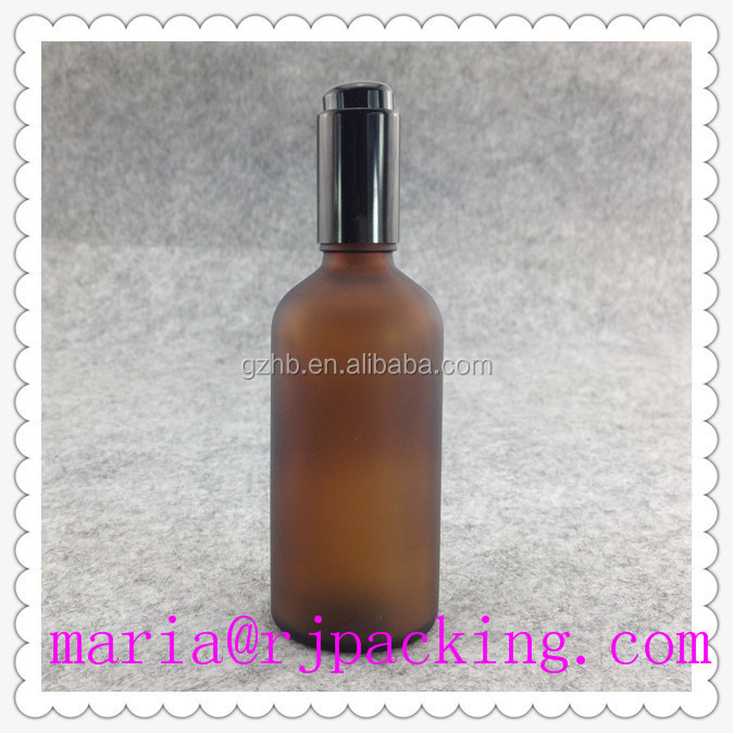 100ml Frosted Cosmetic Glass Bottle With Aluminum Cap And Spray/amber boston glass bottle clear e-juice glass bottle