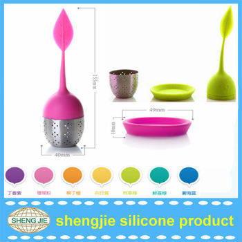 Eco-friendly Green Silicone Leaf Lid,stainless steel wire mesh tea infuser strainer,stainless steel filter strainer