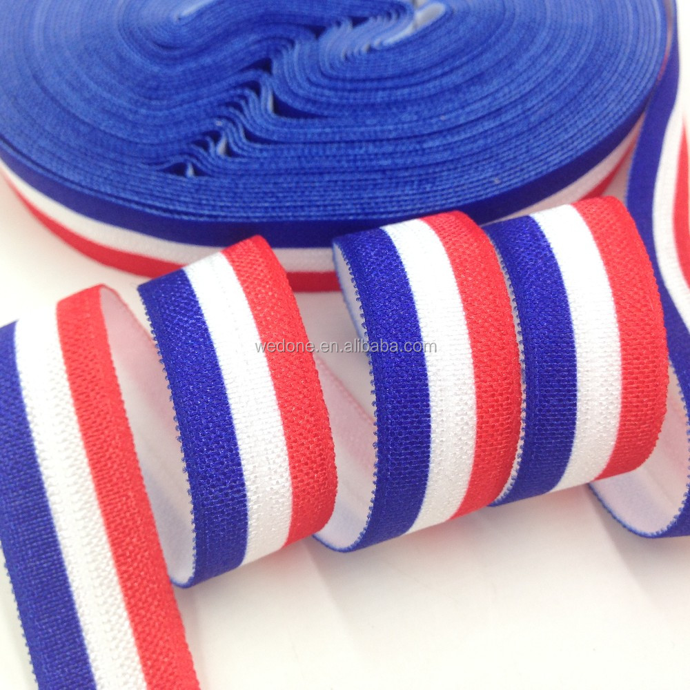"5/8"" French Flag Print Fold Over Elastic Flag FOE Ribbon for Hairband DIY Hair Accessories"