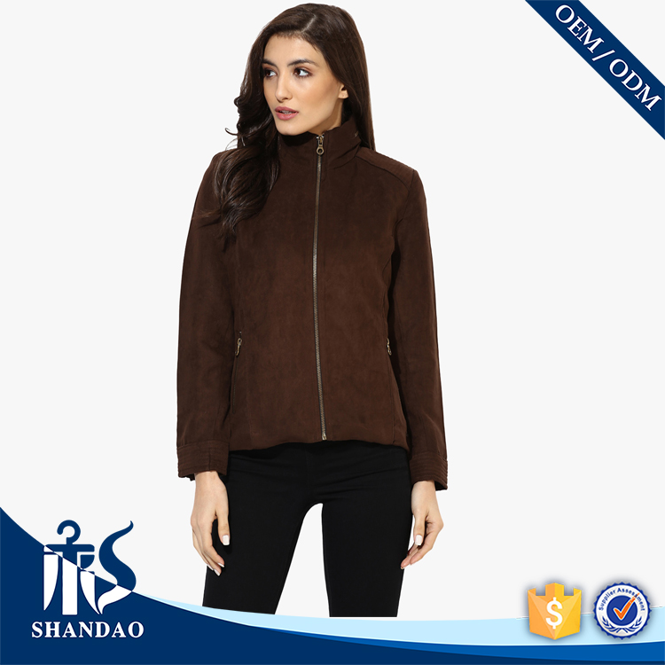 Guangzhou Gold Supplier Shandao OEM Casual Stand Collar with Zipper Solid Color Slim Fit Ladies Office Coat