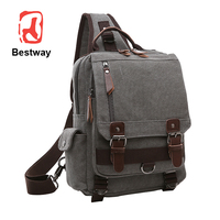 Large Capacity Travel One Shoulder Backpack Vintage Rucksack Canvas Men Backpack Chest Bag