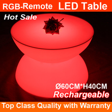 2017 new RGB multi color plastic furniture cylinder cafe table light up cocktail table Dia60CM*H40CM