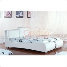 Modern design white king size leather bed I2887#