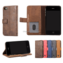 for iphone 4s cover, for iphone 4 leather cover with ID cards slots holder