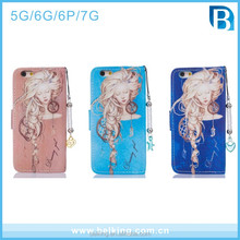 Wallet Card Slot Leather Case With Dreaming Girl Design For Iphone 5 6 6 Plus