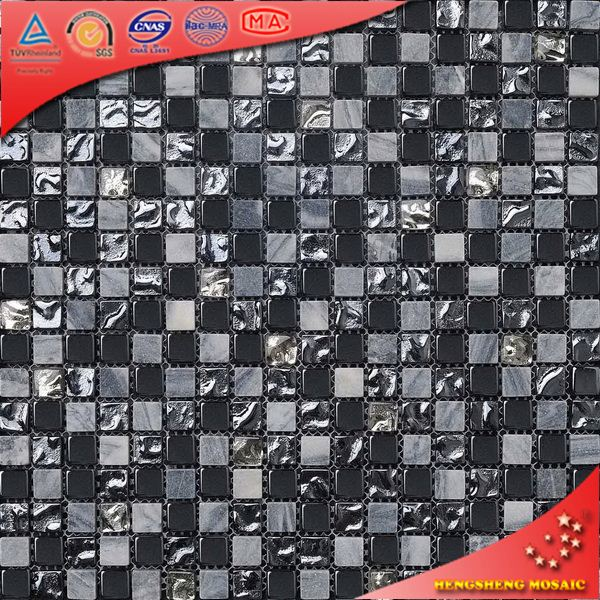 KS45 Black Mixed Mosaic Wall Backsplash Stone Mosaic Tile Colored Broken Glass Tile Marble Mosaic Floor Tile