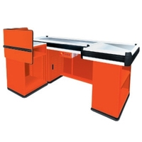 Fashion design small checkout counter/Simple Supermarket Metal Counter/Round Corner Checkout Counter with Keyboard holder