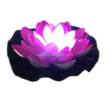 7 Inch Colorful Floating Lotus With LED Light/ Water floating Artifical lily with Light