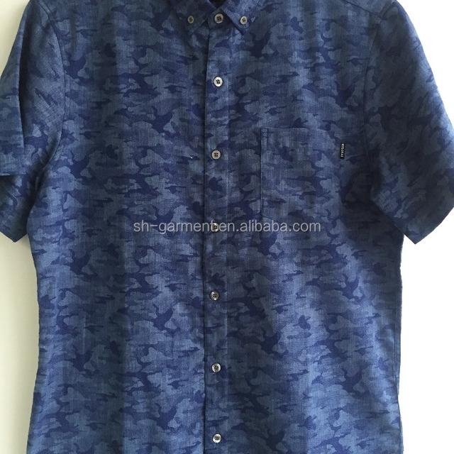 men's camouflage printed short sleeve shirt 2017