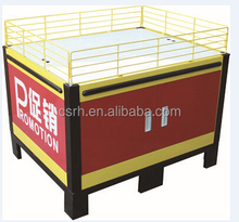 Supermarket Metalic Promotion table with wire mesh