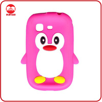 Hot Selling Cute Penguin Style 3D Animal Silicon Case for Samsung Galaxy Pocket S5300