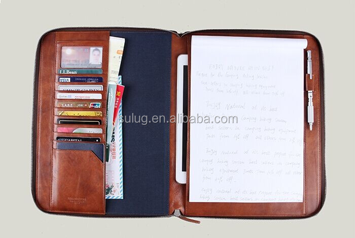 Multifunctional Leather Business Portfolio Case for iPad 2,inside with multipurpose card slot and Stylus holder