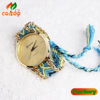 geneva Style fashion Vintage Women bracelet watch Fake weave Quartz watches Brand luxury Famous Fashion Women dress watches