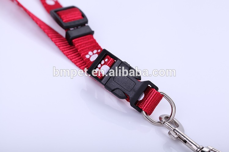 Colorful Nylon Paw print Pet Dog Leash With Collar Set Pet Supply