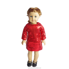 JC109-Red Glitter Dress doll clothes per 18 pollice doll-bambola vestiti produttore