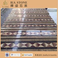Caved natural indoor cheap polished flooring marble tile design inlay water jet medallion