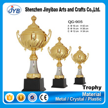 custom golden plate logo metal inflatable sport trophy cup
