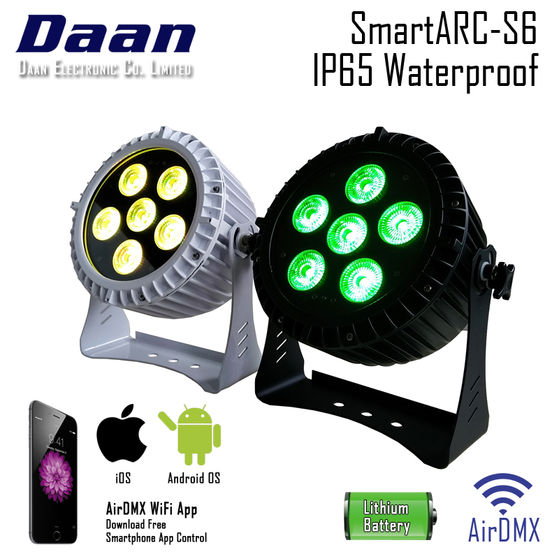 BATTERY POWERED REMOTE CONTROL 6IN1 LED PAR LIGHT FOR WEDDING, HOME PARTY