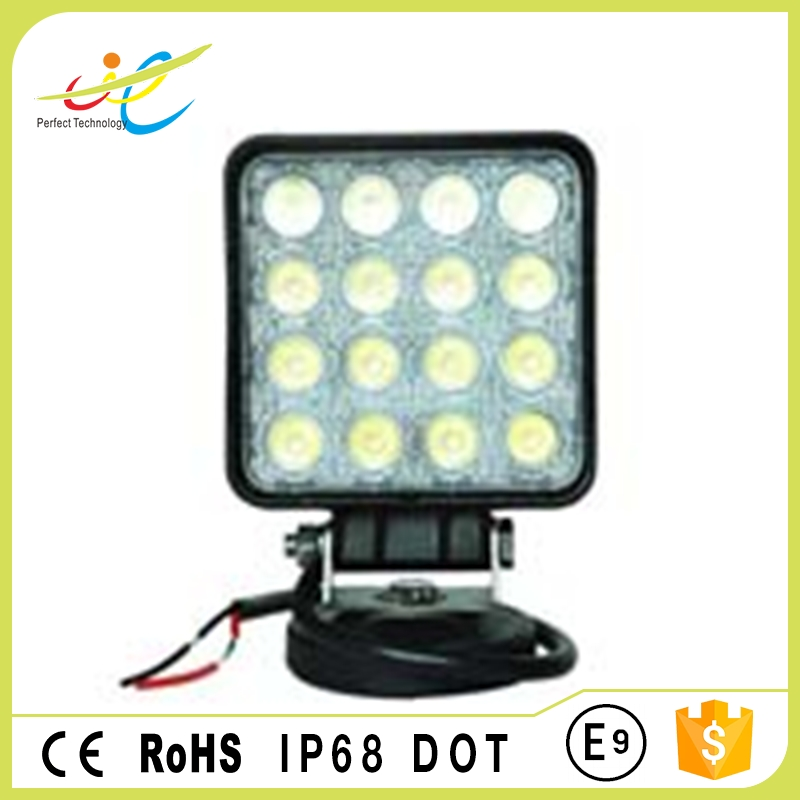 IP 68 approved led work lamp 4'' 48W square headlamp for vehicles